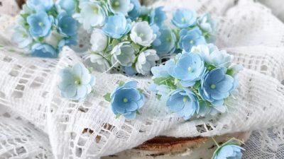 """Декоративные цветы """"Малыши"""", голубые, 10 шт"""