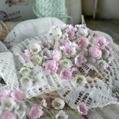 """Декоративные цветы из ткани """"Малыши"""" (Pastel Flowers), розовые , 10 шт"""