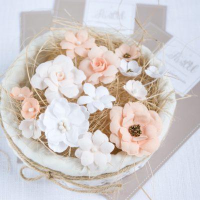 """Декоративные цветы из ткани """"Персиковый микс"""" (Pastel Flowers), 14 шт"""