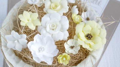 "Декоративные цветы из ткани ""Желтый микс"" (Pastel Flowers), 14 шт"
