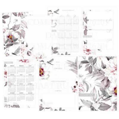 """Печатный блок для блокнота/планера """"Серые цветы"""", от 60 листов А5, 130 г/м2. см описание"""