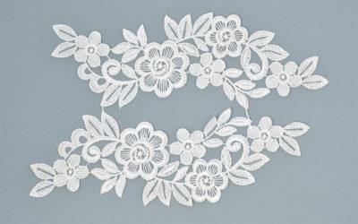 """Аппликации пришивные (лейсы) """"Цветы"""", цвет белый, 24*6 см, 1 шт"""