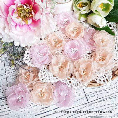 """Тканевые цветы """"Воздушные"""" полупрозрачные (FERD flowers),микс нежно-персиковый и розовый, 7 шт."""