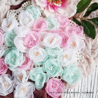 """Тканевые цветы """"Воздушные"""" полупрозрачные (FERD flowers),микс белых, розовых и мятных, 7 шт."""