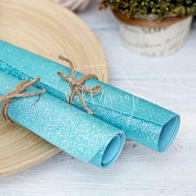 Ткань с глиттером, небесно голубой, 35х35 см