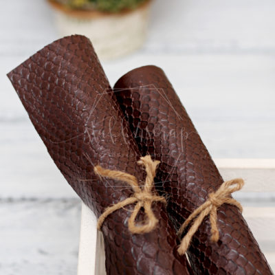 Кожзам «Змея», темно коричневый, 45х35 см