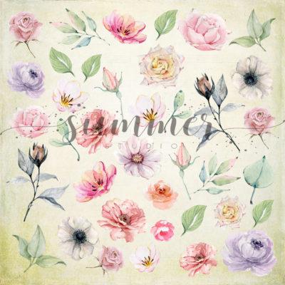 """Лист для вырезания """"Flowers morning"""" коллекции """"Forest story"""" (Summer Studio), 20х20 см"""