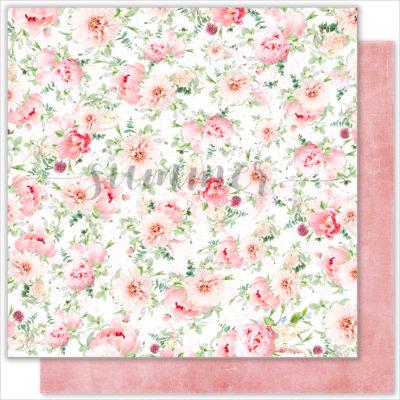 "Лист бумаги ""FLOWERS MORNING"" коллекции ""VINTAGE WEDDING"" (Summer Studio), 30,5х30,5 см"