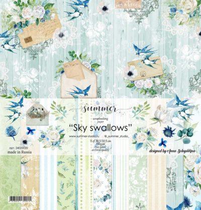 """Набор бумаги коллекции """"SKY SWALLOWS"""" (Summer Studio), 11 л, 30,5*30,5 см"""