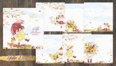 """Печатный блок для альбома """"Hello Autumn"""", 21х21 см или с длинным корешком"""