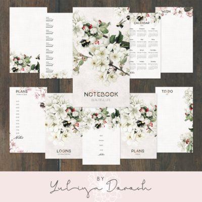 """Печатный блок для тетради Мидори """"Blossom"""", 1 тетрадь, 10 листов"""