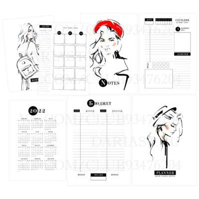 """Печатный блок для блокнота/планера """"Женщины зарисовки"""", от 60 листов А5, 130 г/м2. см описание"""