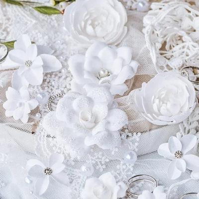 "Декоративные цветы из ткани ""DIAMOND"" (Pastel Flowers), белый, 10 шт"