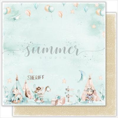 "Лист бумаги ""HAPPY DAY"" коллекции ""LITTLE SHERIFF"" (Summer Studio), 30,5х30,5 см"