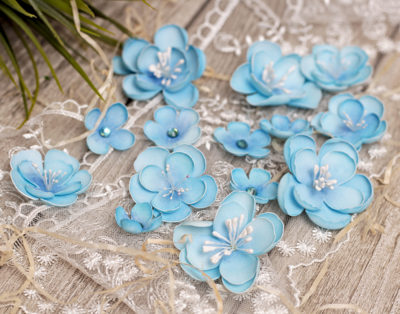 """Декоративные цветы """"Нежность"""", синий, 11 шт"""