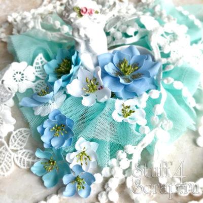 """Декоративные тканевые цветы """"Базовые"""" (Полина Савченко), голубой микс, 9 шт"""