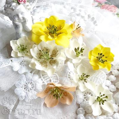"""Декоративные тканевые цветы """"Базовые"""" (Полина Савченко), желтый микс, 9 шт"""