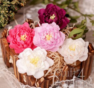 """Декоративные тканевые цветы """"Пионы"""" (Полина Савченко), розовый микс, 5 шт"""