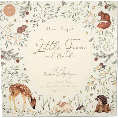 "1/4 Набора бумаги коллекции ""Little Fawn & Friends"" (Craft Consortium), 30х30 см"