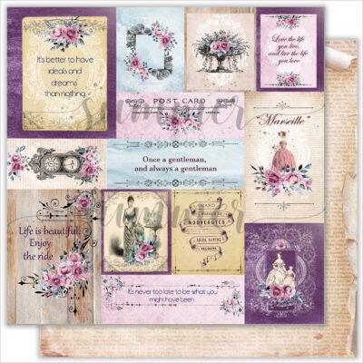 """Лист бумаги """"Marseille card's"""" коллекции """"Marseille"""" (Summer Studio), 30,5х30,5 см"""